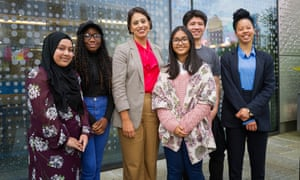Sara Khan with young people at the Spotlight youth centre, east London