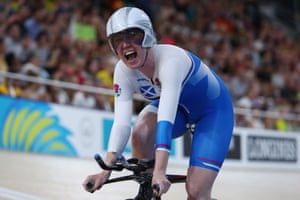 Scotland's Katie Archibald celebrates after winning gold in the women's 3000m individual pursuit finals.