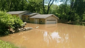 The Hayes' home after flooding.