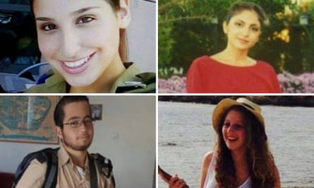The victims of the truck ramming attack: Clockwise from top left: Yael Yekutiel, 20, Shir Hajaj, 22, Shira Tzur, 20, and Erez Orbach, 20