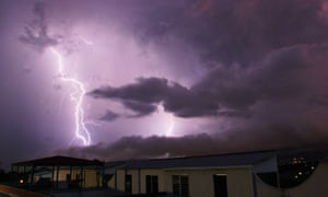A lightning strikes San Salvador