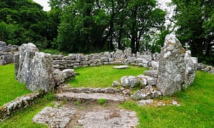Ruins of stone huts at Din Lligwy.