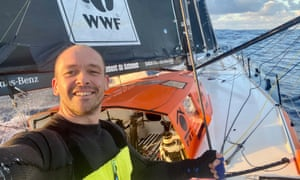 Kevin Escoffier takes a picture on board his boat PRB last week, before he was forced to abandon ship on Monday.