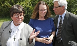 Sister Helen Prejean speaks alongside two of Richard Glossip's defense attorneys, Kathleen Lord and Don Knight, outside the Oklahoma state penitentiary in McAlester Oklahoma earlier this month.