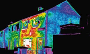 Thermal image of badly insulated houses
