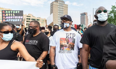 Terence Floyd, the brother of George Floyd who died in police custody in the US, march in New York.