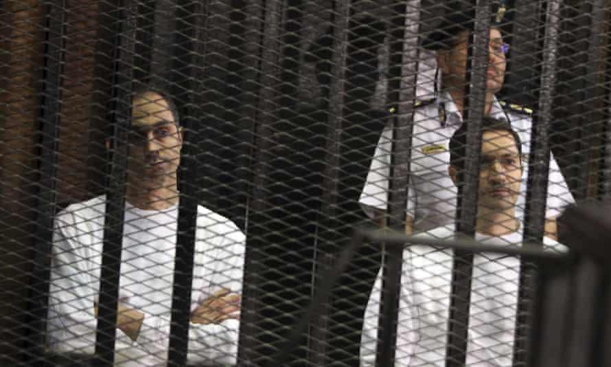 Gamal and Alaa Mubarak in court