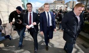 Stuart Olding leaves court in Belfast on March 28.