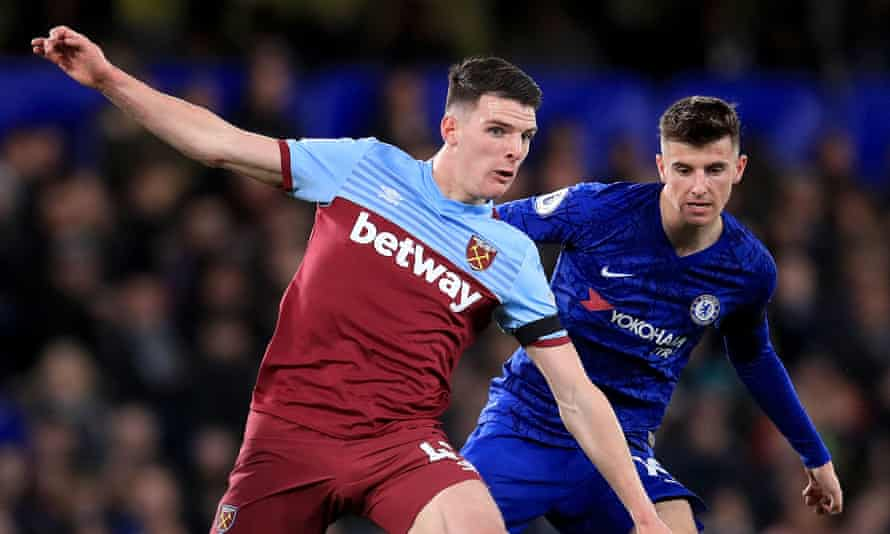 Declan Rice (left) in action for West Ham against Chelsea, the club where he started his career.
