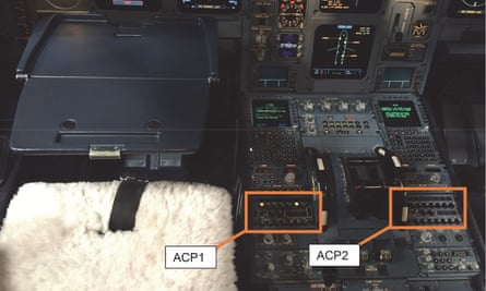 A picture from the cockpit of the Airbus A330 shows the audio control panels (ACPs) that were damaged when a pilot spilled coffee