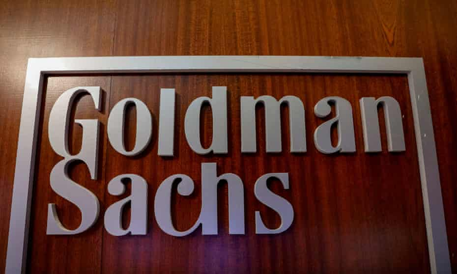 The Goldman Sachs company logo in the company's space on the floor of the NYSE in New York.