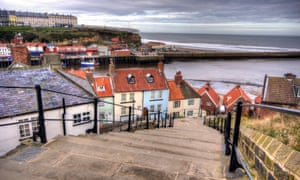 The steps leading from Whitby Abbey down to the town below.