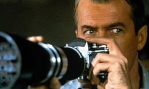 James Stewart in a still from the Hitchcock film Rear Window. based on Cornell Woolrich's story It Had to Be Murder.