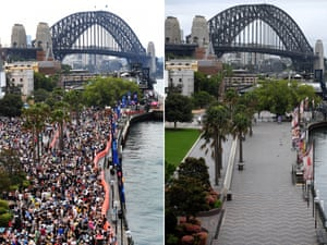 A composite image compares the crowd size at Sydney's Circular Quay on New Year's Eve in 2019 and 2020
