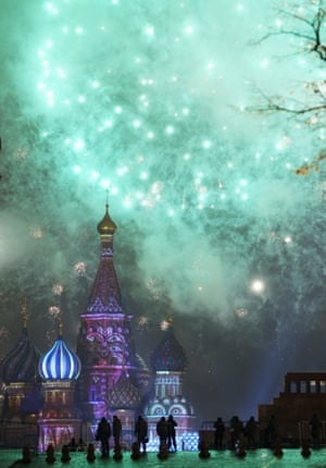 The new year arriving in Moscow's Red Square