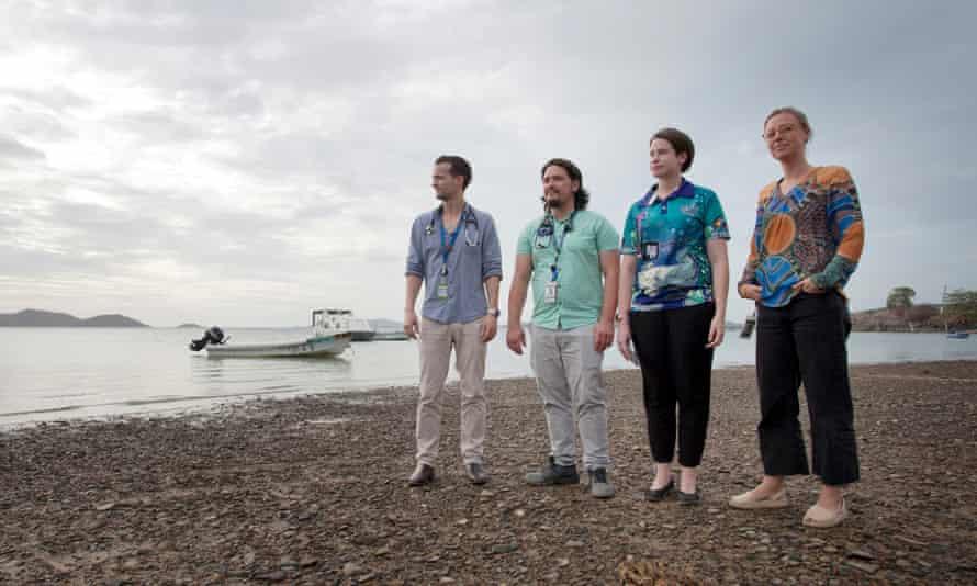 (l- r) Dr James Allin, Dr Benjamin McIntosh, Dr Kelly McIntosh and Dr Ineke Wever, Torres Strait, Australia.