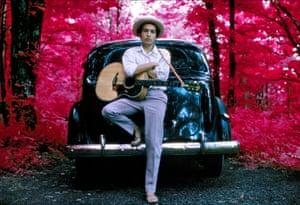 Elliott Landy Bob Dylan, outside his Byrdcliffe home, infrared color film, Woodstock, NY, 1968