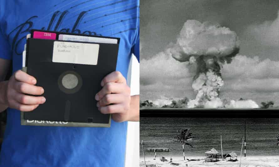 8in floppy and a mushroom cloud