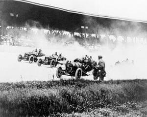 Drivers Will Jones (9), Joe Jagersberger (8) and Louis Disbrow (5) race with their riding mechanics