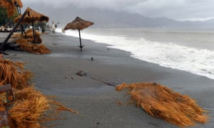 A view of the beach in Kalamata, Greece, after Storm Zorba.