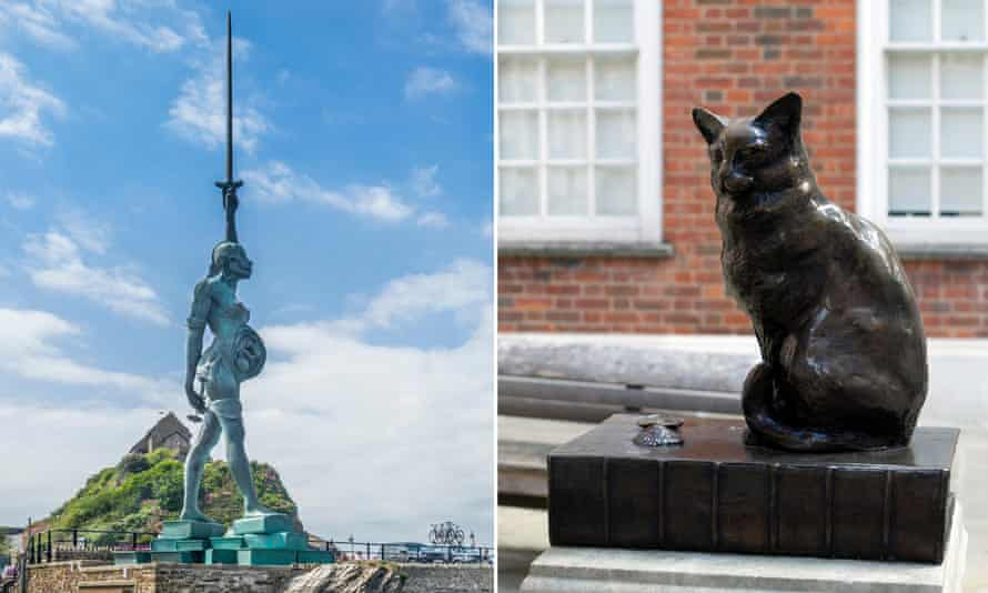 No danger of this fading into the background ... Damien Hirst's Verity; and a sculpture of Samuel Johnson's cat Hodge.