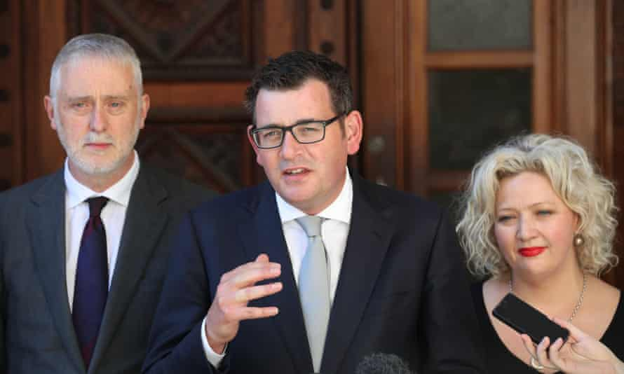 Victorian special minister of state Gavin Jennings, premier Daniel Andrews and health minister Jill Hennessy after the Voluntary Assisted Dying bill passed.