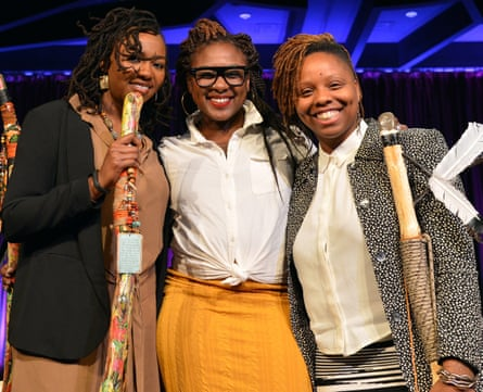 Alicia Garza, centre, with her Black Lives Matter co-founders Opal Tometi and Patrisse Cullors