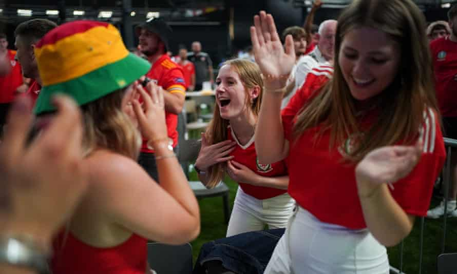 Wales fans react to the second goal against Turkey last week at an arena in Cardiff.