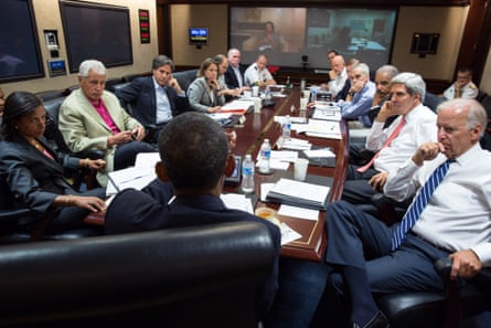 Barack Obama meets in the Situation Room with his national security advisers on 31 August 2013.