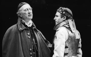 Antony Brown as Cardinal Pandulph with Ralph Fiennes as Lewis the Dauphin in Shakespeare's King John, Royal Shakespeare Company at the Other Place, Stratford-upon-Avon. Directed by Deborah Warner and designed by Sue Blane, 1988