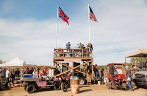 """Redneck Stadium in 2011 created by Daniel Patrick Hoolihan IV, who defines rednecks as """"people who would probably be having more fun than others."""" He and his wife Dawn have been attending the races for 25 years"""