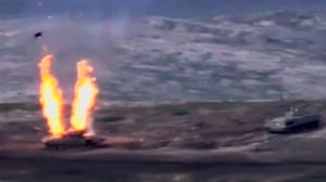 Nagorno-KarabakhA screengrab issued by the Armenian defence ministry allegedly shows destroying of Azeri tank during clashes between Armenian separatists and Azerbaijan in the contested region