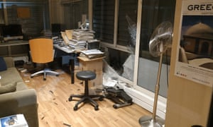 Damage inside the offices of SKAI TV after the explosion