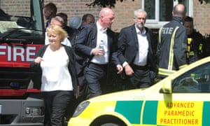 Jeremy Corbyn visits the scene of the Grenfell Tower fire