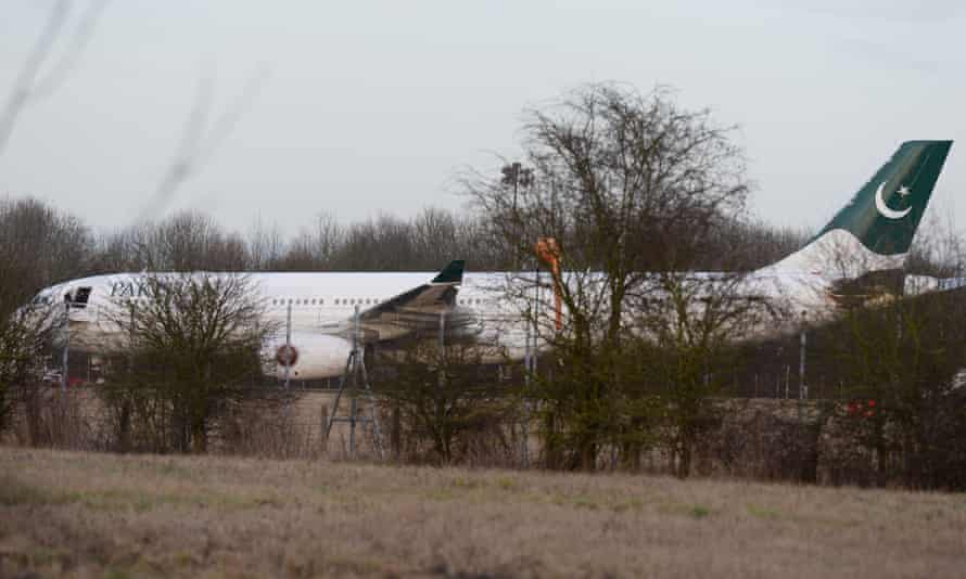 The Pakistan International Airlines plane at Stansted airport after being intercepted by RAF jets