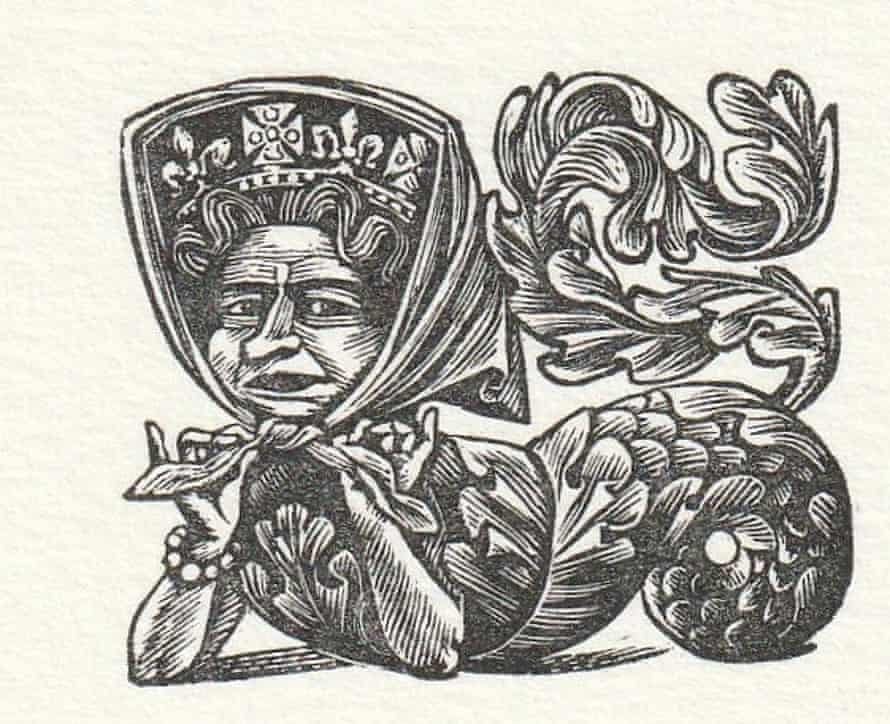 Peter Forster's wood engraving of the Queen, from his 1983 series Britannic Majesty, depicting members of the royal family as mythical creatures