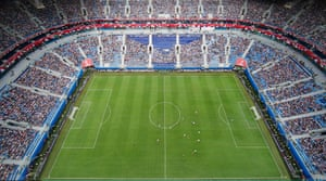 An aerial view of the match as half-time approaches.