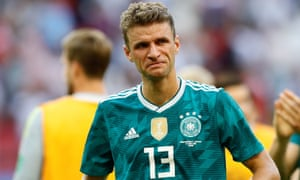 Thomas Müller reacts after Germany crashed out of the 2018 World Cup in the group stage.