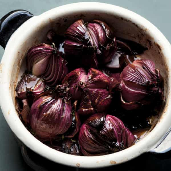 Vermouth-braised onions.