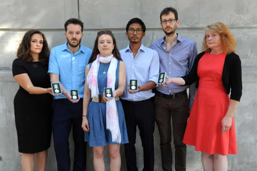 Tanya Mikaiel, Neal Russell, Felicity Fitzgerald, Mark Lee, Andrew McArdle and Clea Kahn with their Ebola medals.