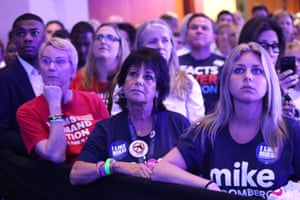 Supporters of democratic presidential candidate former New York City Mayor Mike Bloomberg attend his Super Tuesday night event on March 03, 2020 in West Palm Beach, Florida. 1,357 Democratic delegates are at stake as voters cast their ballots in 14 states and American Samoa on what is known as Super Tuesday.