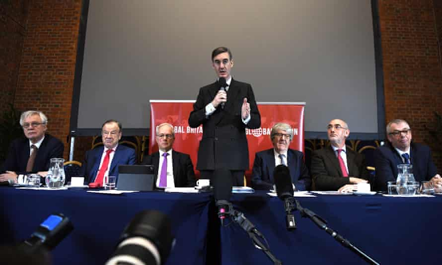 ERG chair Jacob Rees-Mogg with ERG members at a Brexit press conference in London, 2018