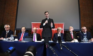 Brexit campaigner and British Member of Parliament Jacob Rees-Mogg (C) speaks to members of the media at a European Research Group (ERG) media conference in London, Britain, 20 November 2018