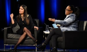 Salma Hayek Pinault, left, and Oprah Winfrey onstage during Oprah's Super Soul Conversations at the Apollo Theater in New York City.