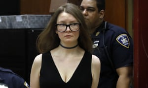 Anna Sorokin arrives in New York state supreme court on 27 March.