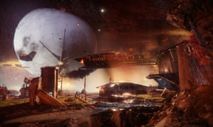 A Cabal ship, part of Dominus Ghaul's Red Fleet, prepares to capture the Traveller in Destiny 2.