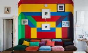 A bespoke sofa; owner Ramdane Touhami designed the coloured wall.
