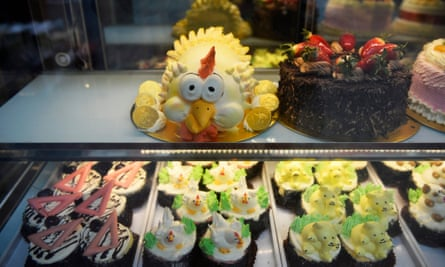 Cakes in a bakery window in London's Chinatown.