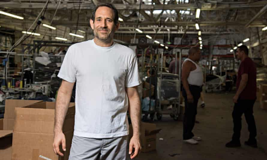 Charney at the Los Angeles Apparel factory where he lives 24/7, sleeping on a mattress.