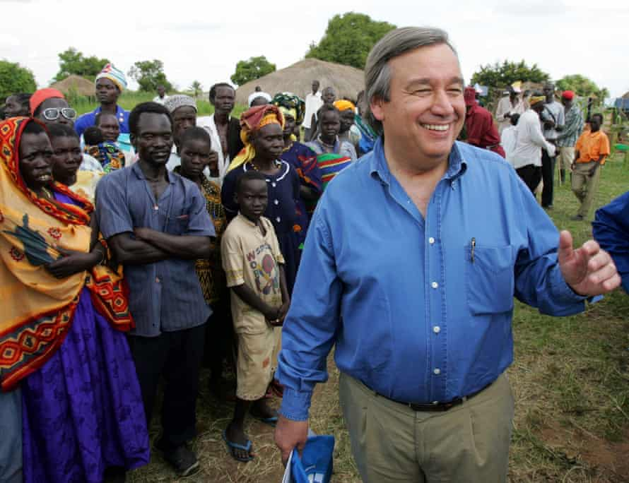 Guterres, then UN high commissioner for refugees, visits Ikafe camp for Sudanese refugees in northern Uganda.